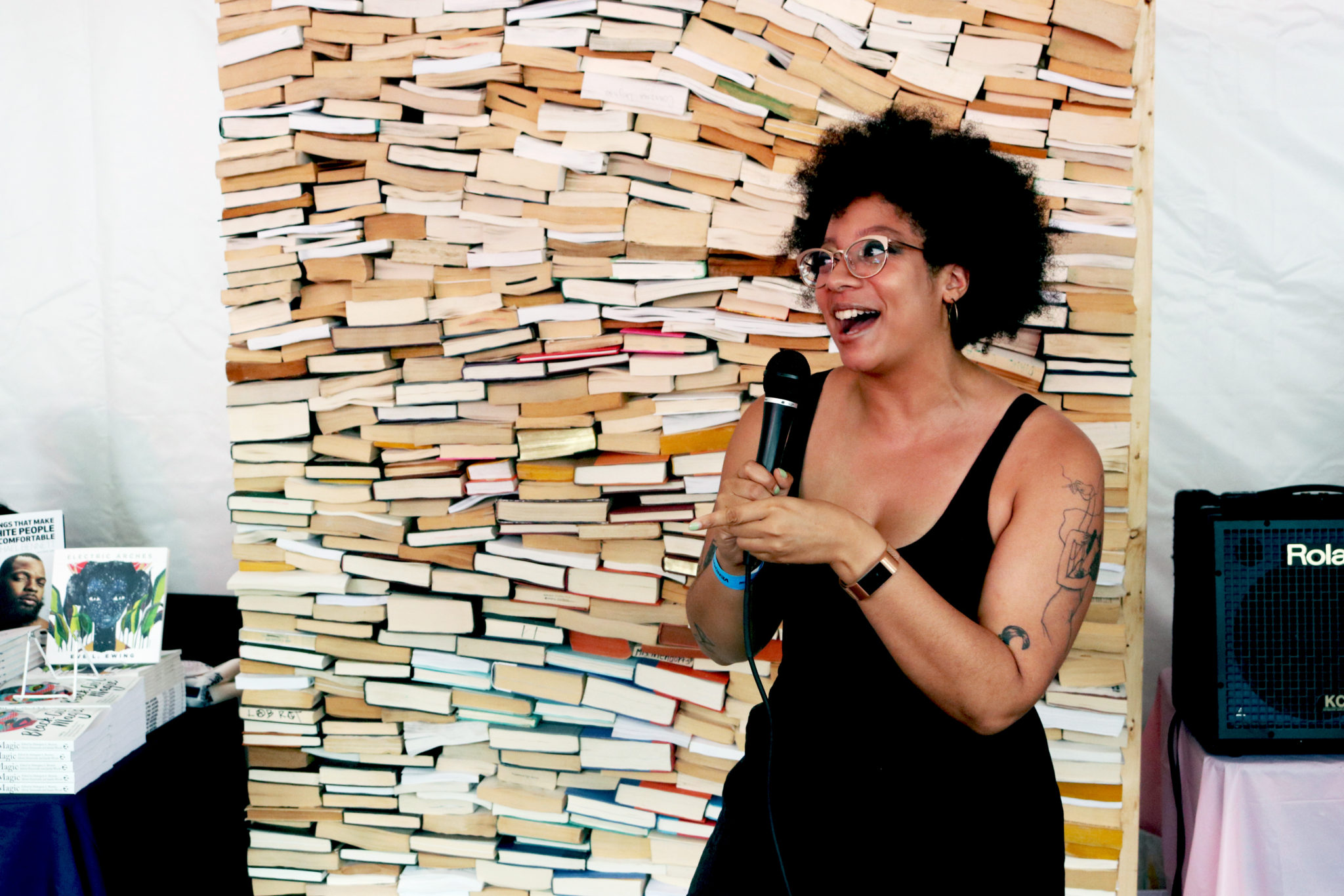 Ashley Ray with the laughs at Bookfort | Photo by Morgan Elise Johnson (The TRiiBE)