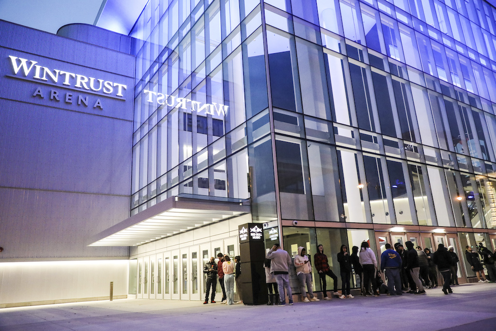The line outside the Winstrust Arena before doors opened at 7PM.